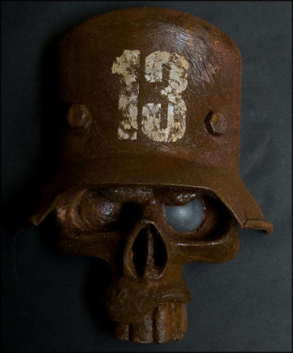 Glass Fibre Sculpture Skull In Helmet
