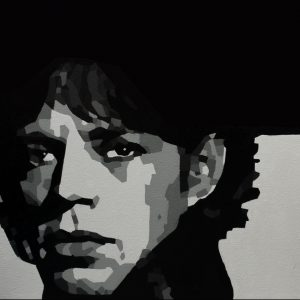 Mick Jagger Monochrome Oil Painting